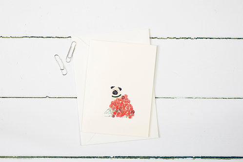 Pug with roses greetings card