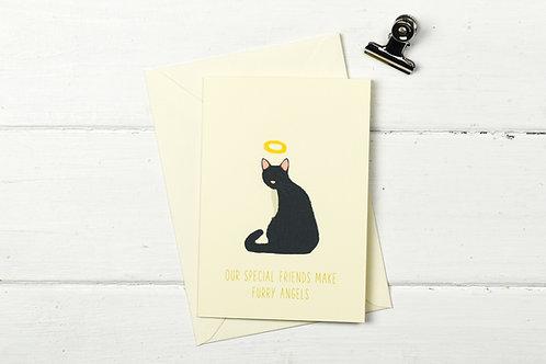 Cat pet sympathy card- Black & white cat- Furry Angel- pet loss card