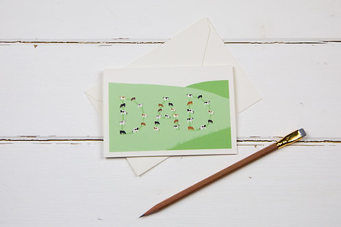 Cows on the hillside dad card