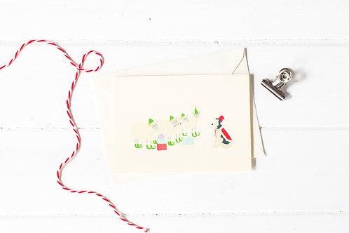 Nell & her sheep as Santa & elves Christmas greetings card