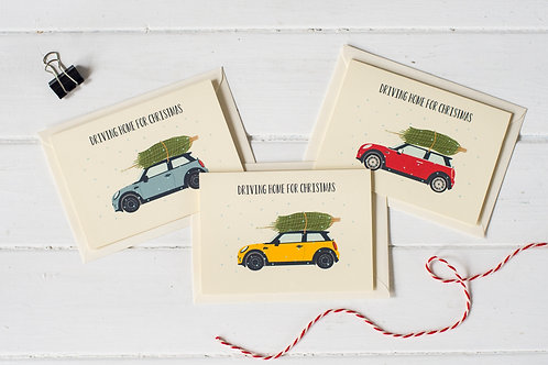 Set of 3 Mini Cooper Christmas greetings cards