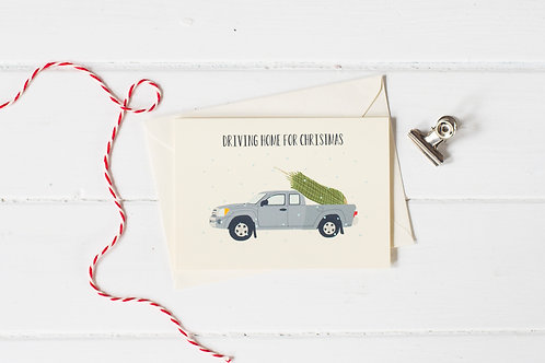 Pick up truck in grey with Christmas tree- greetings card