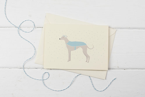 Winter Whippet with cape- Christmas greetings card