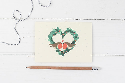 Robin love- Christmas greetings card