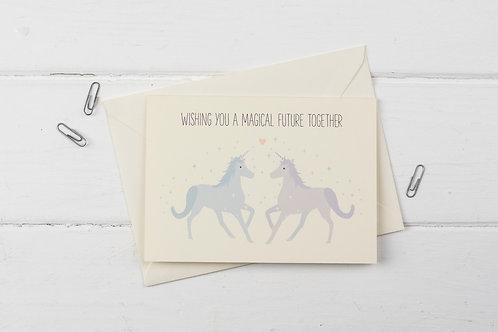Unicorn engagement- greetings card