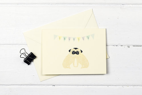 Pug- Female couple- Engagement greetings card