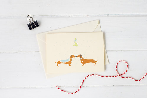 Christmas Mistletoe Dachshund- Christmas greetings card