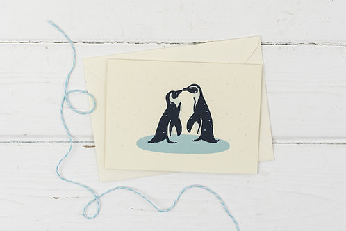 Penguins in the snow- Christmas greetings card