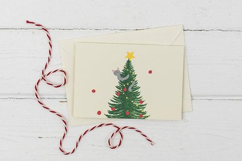 Naughty Christmas Cat up the Christmas tree- Christmas greetings card