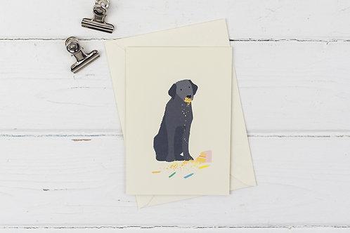 Naughty black Labrador birthday card