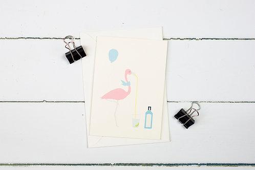 Flamingo enjoying a celebratory G&T greetings card
