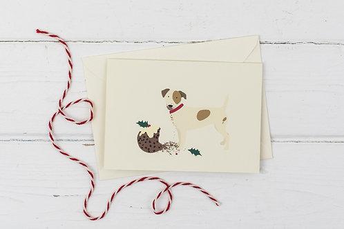 Naughty Christmas Russell with Christmas pudding- Christmas card