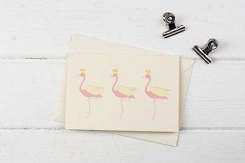 Flamingo trio of Christmas angels greetings card