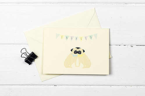 Pug- Male couple- Engagement greetings card