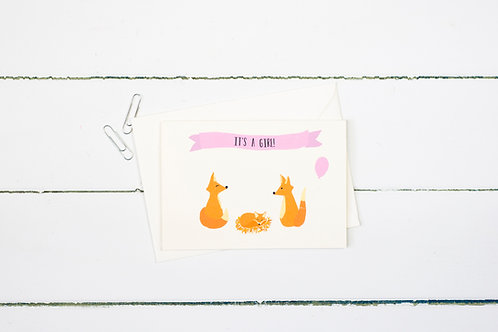 Fox- It's a girl! greetings card