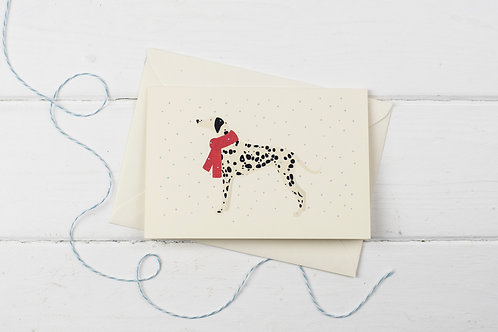 Dalmatian in the snow- Christmas greetings card