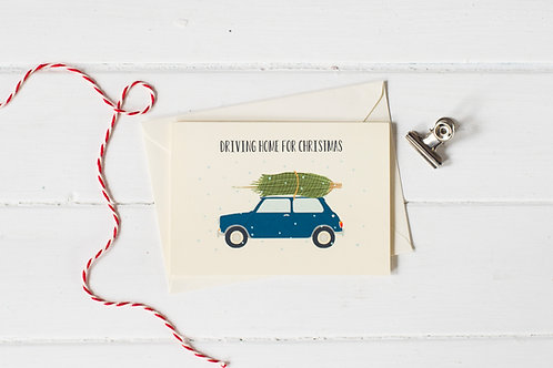 Classic Mini Cooper in blue with Christmas tree- greetings card