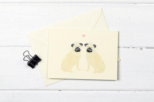 Pug- female wedding- greetings card