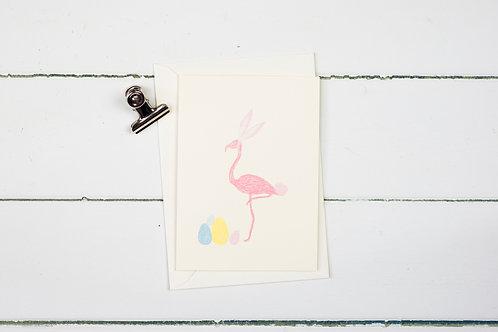 Easter flamingo greetings card