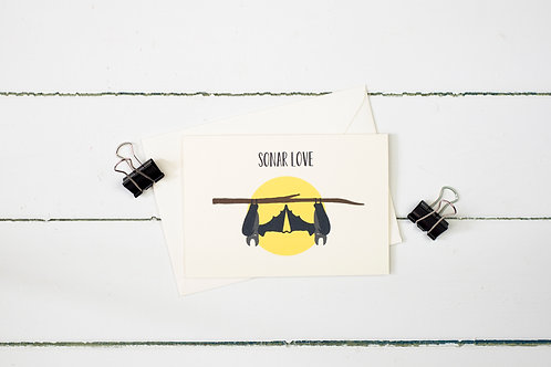 Bats- Sonar love greetings card