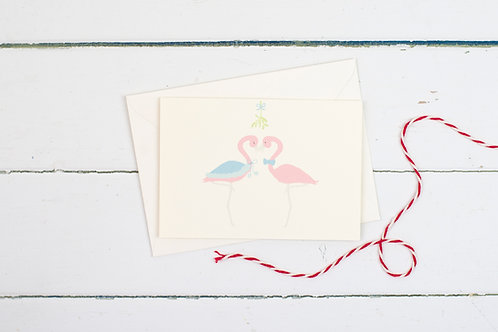 Flamingo Christmas mistletoe greetings card