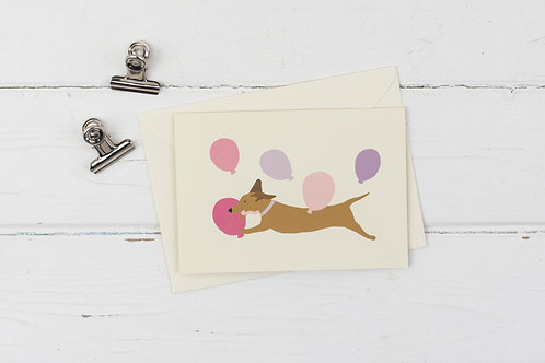 Birthday Dachshund card- pink