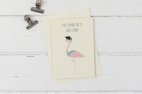 Flamingo graduation- Well done card