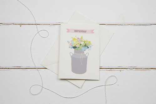 Milk churn happy birthday card