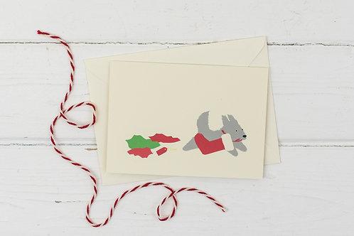 Naughty grey dog with stocking- Christmas greetings card