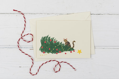 Naughty tabby cat with knocked over Christmas tree- Christmas greetings card