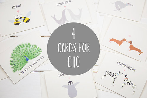 Any for 4 cards for £10
