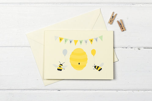 Bee new home greetings card