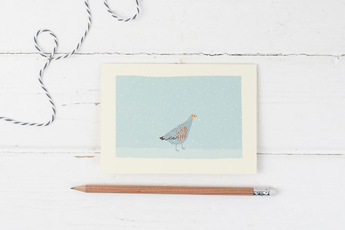 Partridge in the snow- Christmas greetings card