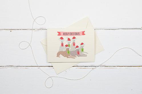Christmas whippets- Christmas greetings card