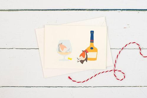 Christmas Robins with brandy greetings card
