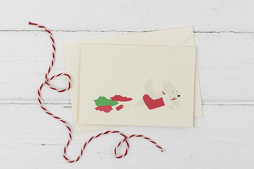 Naughty white dog with stocking- Christmas greetings card