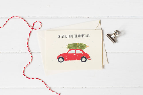 Classic VW Beetle in red with Christmas tree- greetings card