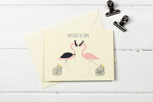 Flamingo- Partners in crime- greetings card