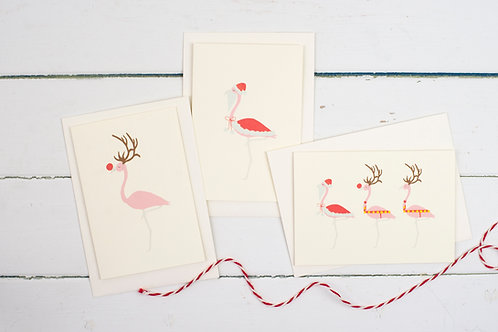 Set of 3 Christmas flamingo cards