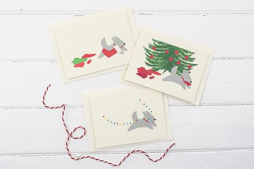 Set of 3 Naughty Christmas dog cards- Christmas greetings card set