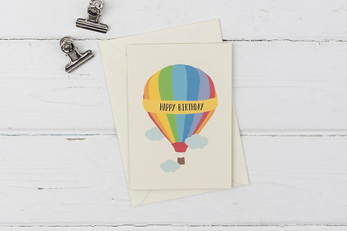 Rainbow balloon birthday card