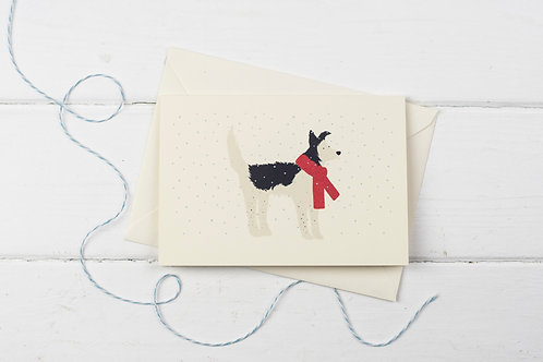 Collie in the snow- Christmas greetings card