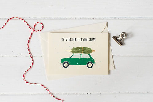 Classic Mini Cooper in green with Christmas tree- greetings card