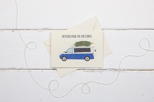 Blue camper van with Christmas tree- greetings card