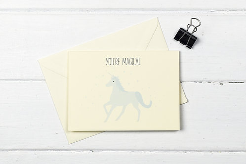 Unicorn- You're magical- greetings card
