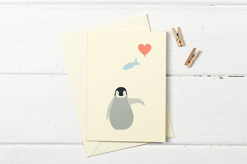 Baby penguin- birthday greetings card