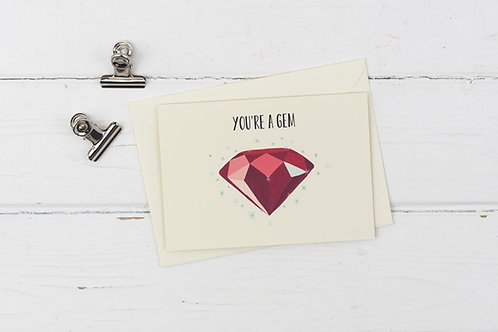You're a gem- Ruby- Thank you card