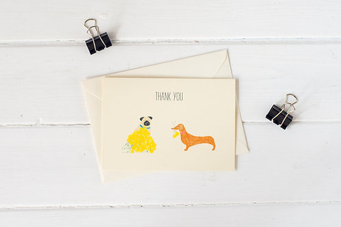 Thank you dogs greetings card