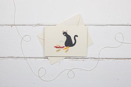 Naughty black cat with Santa's treats- Christmas card