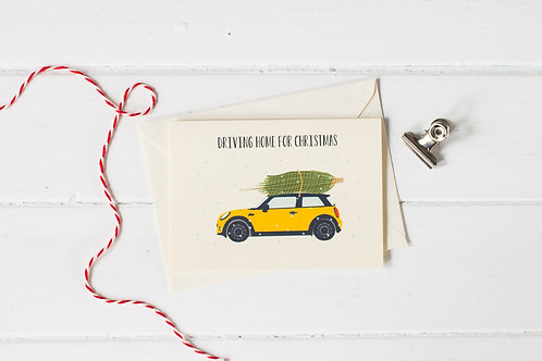 Mini Cooper in yellow with Christmas tree- Christmas greetings card